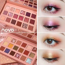 Argentina NOVO 18 Colores Glitter Shimmer Mate Paleta de Sombra de Ojos Pigmentado Metálico Natural Sombra de Ojos en Polvo Maquillaje Nude Kit de Sombra de Ojos cheap nude eye shadow kits Suministro