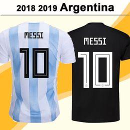 Jerseys uniformes argentina on-line-2018 Argentina selecção nacional MESSI DI MARIA Futebol DYBALA AGUERO HIGUAIN Casa Fora Mens manga curta camisas do futebol Uniforme