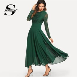 2019 robe en maille Sheinside Green Mesh Lace Panel Sleeve Dress Femmes Solid Trim Plissée Maxi Robes 2019 Printemps Élégante Taille Haute Une Robe De Ligne promotion robe en maille