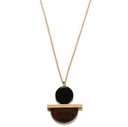 Madera de resina online-collares colgantes de resina joyas de diseño geometría collar de madera de la forma semicírculos para las mujeres de la manera simple caliente libre del envío