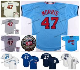 Vintage minnesota trikots online-Jahrgang 47 Jack Morris Jersey 2018 Hall of Fame Detroit Toronto Baseball Trikots Tiger Minnesota Morris Zwillinge Blue Jays genähte Shirts