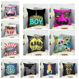 Pano de almofada de sofá on-line-Novo 45 * 45 cm Dupla Face 3D impressão digital capa de almofada fronha super macio pano Cama sofá fronha fronha aquare T2I5237