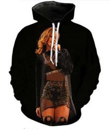 Sudaderas con capucha rihanna online-Ropa de moda Otoño Invierno Sudaderas con capucha Hombres Mujeres Rihanna Impresión 3D Sudaderas con cuello redondo Bolsillos casuales Sudadera Tops