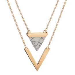 Gold anhänger halskette indien online-MissCyCy Frauen Gold-Farbe Punk Halsketten aus Indien Hot Geometric Triangle Faux Marmor Stein Anhänger Halskette Vintage-Schmuck
