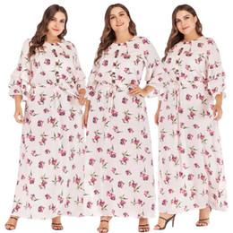 2019 moda islamica in pizzo 2019 Donne musulmane stampa floreale abito lungo Plus Size Slim Ruffle Sleeve Lace Up Maxi abiti islamici primavera moda casual sciolto moda islamica in pizzo economici