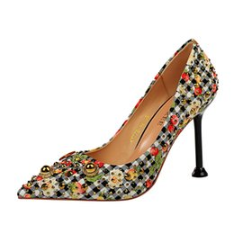 df2494809d1109 iMaySon Womens Pumps Grid Patchwork Sexy Rhinestone Colorful Diamond Sandals  Party High Heels Sandals Girl Lady Single Heeled Square Shoes