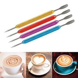 Plantillas de cafe online-Café Latte Cappuccino flor Pin plantillas DIY de lujo herramientas de café Garland aguja acero inoxidable tallado Stick Art aguja