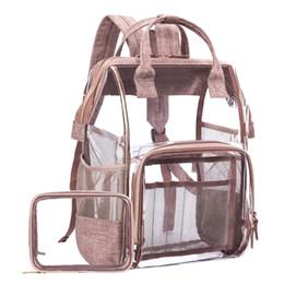 Büyük Temizle Sırt Çantası Şeffaf Çok Cepler Okul Sırt Çantaları / Açık Sırt Çantası Fit 15.6 Inç Dizüstü Güvenlik Seyahat Sırt Çantası Sırt çantası nereden büyük uyum tedarikçiler