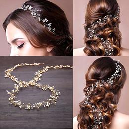 Perlen reben online-UNISTYLE Hochzeit Haar Vine Crystal Head Vine Braut Haarschmuck mit dekorativen Perlen, Golden