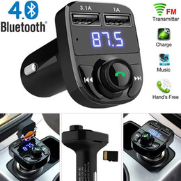 Trasmettitore fm aux online-MP3 Player FM Transmitter X8 Aux modulatore vivavoce Bluetooth Car Kit Car Audio con 3.1A Quick Charge Dual USB Car Charger Accessorie mq30
