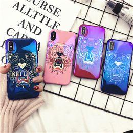 Wholesale Barato tigre pintado marca blue ray phone case para iphone x xs max xr tpu tampa traseira para o iphone s plus cores disponíveis