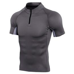 2019 muskel-trikot Neue Kurzarm Sport Shirt Männer Dry Fit Compression T-Shirt Mann Schlank Muscle Tee Tops Gym Laufshirt Reißverschluss Basketball Jersey Sportwear rabatt muskel-trikot