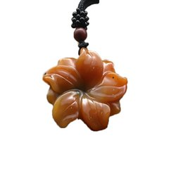 hand carved stone pendants Coupons - YunNan HuangLong Jade Flower Pendant Necklace Sweater Chain Drop Shipping Hand Carved Jade Stone Necklace With Chain