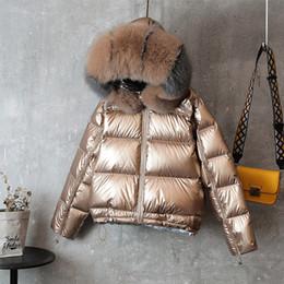 Piumino lungo double face Collo invernale in pelliccia Cappotto in piumino d'anatra bianco Parka caldo imbottito da giallo trapuntato fornitori