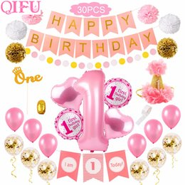 Decorazioni per la prima festa di compleanno online-30pcs 1st Birthday Tatuaggi First Birthday Girl Party Decoration 1 anno di compleanno baby shower decorazioni Decor One Year Old
