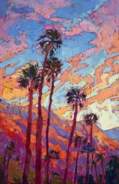 Moderna pittura a olio di tramonto online-Artwork-sunset-light-Unframed Modern Canvas Wall Art per la decorazione di casa e ufficio, pittura a olio, pitture animali, cornice.