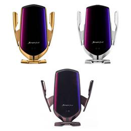 soporte de soporte de teléfono Rebajas Original R2 Sensor inteligente Inducción Car Mount Cargador inalámbrico para iPhone X XR XS Max S10 plus Soporte de carga de carga rápida Soporte de teléfono con ventilación de aire