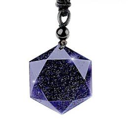 Glückliche kristalle steine online-Naturstein Schwarzer Obsidian Sechs Sterne Anhänger Halskette Männer Sandstein Lucky Love Kristall Pendel Energie Schmuck Für Frauen