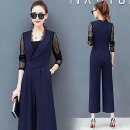 1f8e8423a45 Spring 2019 women jumpsuit wide-legged pants suit autumn new women s Korean  fashion royal long pants jumper casual vestidos