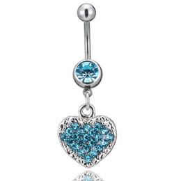 Anéis umbigo coração coração on-line-Blingbling New body piercing jóias Europa e nos Estados Unidos definir diamante forma de coração pingente umbigo unha umbigo anel