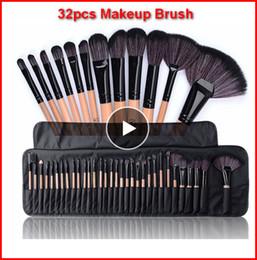 grünes make-up Rabatt 32 stücke Professionelle Make-Up Pinsel mit tasche Set Make-Up Pulver Pinsel Pinceaux maquillage Schönheit Kosmetische Werkzeuge Kit Lidschatten Lippenpinsel bea117
