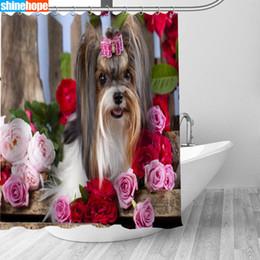 2020 lindas cortinas de baño 1PC Cute Dogs Cortinas de ducha para baño Poliéster Cortina de ducha Cortina de impresión Cortinas de dibujos animados lindas cortinas de baño baratos
