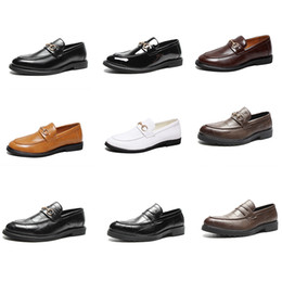 famous high heels brands Promo Codes - Soft Leather Mens Designer Loafers dress shoe party Business shoes Metal Buckle Slip-on Famous brand man Wedding Shoes high Quality with Box