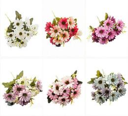 Margherite di plastica online-New Plastic margherita bouquet sposa per natale casa matrimonio nuovo anno decorazione piante finte girasole fiori artificiali per feste