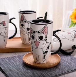 colheres de café porcelana Desconto 600 ml Criativo Gato Caneca De Cerâmica Com Tampa e Colher Dos Desenhos Animados Leite Xícara De Chá De Café Porcelana Canecas Agradáveis Presentes