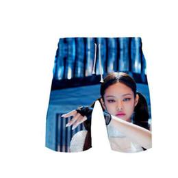 Pantaloni corti degli uomini coreani di modo online-pantaloncini Blackpink 3D pantaloncini stampa di moda di base Via Estate coreano raffreddano Sport Kpop bicchierini casuali di uomo Moletom pantalone a vita bassa