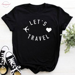 gifts ladies wear Coupons - Lets Travel Women Tshirt Cotton Casual O Neck T Shirt Gift For Lady Yong Girl Cool Couple Wear Tee