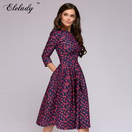 Robes classiques des femmes de printemps en Ligne-Southpire Classic Floral Printed Dress 2019 Printemps Eté New Vintage Style A-Line Dress Y19070901