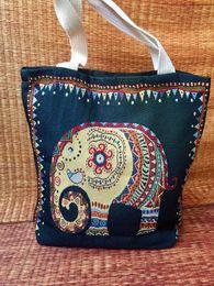 2019 ethnischen stil handtasche großhandel Stickerei-berühmte ethnische Art-Natur-Handtaschen-Tote-Baumwollbeutel-kundenspezifische Segeltuch-Einkaufstasche-Großhandelsumhängetasche günstig ethnischen stil handtasche großhandel