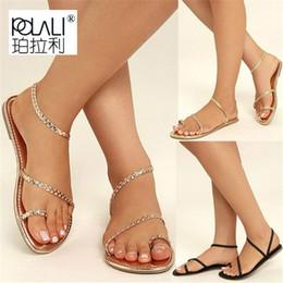 Туфли на высоком каблуке онлайн-POLALI Plus Size Thong Sandals Summer Women Flip Flops Weaving Casual Beach Flat With Shoes Rome Style Female Sandal Low Heels