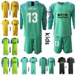 Fútbol online-2018 niños portero Camisetas Camisa # 13 OBLAK # 1 MOYA Camiseta de portero camiseta de manga larga GRIEZMANN F TORRES KOKE Camiseta de fútbol