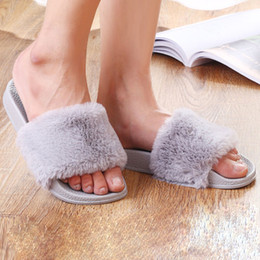 winter thick soled shoes Coupons - 2019 Fashion Women Fluffy Slippers Thick Sole Anti-slip EVA Winter Home Shoes Woman Pantoufle Femme Pantuflas Mujer