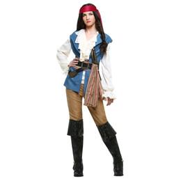 Piratas caribe ropa online-Halloween Mujeres Adultos Disfraces de Piratas Niñas Caballero Ropa Cavalier Caribbean Pirate Cosplay