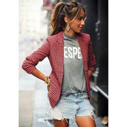 2019 veste à carreaux rouge femme Mode décontractée rouge à carreaux  manteaux à manches longues européenne 9fb45ecc9b3