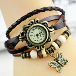 Relógio de pulso de casamento on-line-Encantos De Couro tecer Relógios Das Mulheres De Pulso De Quartzo Relógios Pingentes de Asa Borboleta Festa de Casamento Retro relógios de Pulso 9 Cor