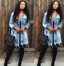 jaqueta jeans ajustada longa Desconto Mulheres Denim Blue Jacket Longo Slim Fit Único Breasted Holes Designer Casacos Casacos