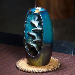 Forni in ceramica online-Bruciatore di incenso di riflusso Fornace di ceramica Aromatico Home Office Buda Decorativo Incenso Road Tower Cone Holder