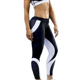 Mujeres Impresión geométrica digital Pantalones de yoga Cintura alta Pantalones de fitness 7009 Ropa interior de secado rápido para culturismo desde fabricantes