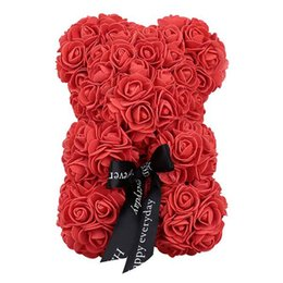 flower girl bear Promo Codes - 25Cm Foam Bear Of Roses Bear Rose Flower Artificial birthday Gifts For Women girl Valentines wedding anniversary gifts