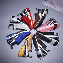 Sola de borracha tpr on-line-2019 Marca Homens Strass Tecido Estiramento Jersey Sorrento Slip-on Sneaker Moda Feminina Sola De Borracha Sapatos Casuais Com Caixa 35-45