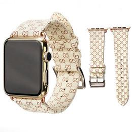 Diseño de banda de reloj online-Diseño de marca Bandas de reloj de cuero para Apple Watch Band 42 mm 38 mm iwatch 1 2 3 4 bandas Correa de cuero pulsera deportiva deporte 40 mm 44 mm