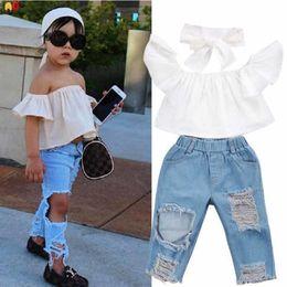 Bonne qualité Élégant Girls Shirt et Jeans Ensembles pour enfants pour Summer Ins Hot Kids Vêtements Vêtements T-shirts et Pantalons 2019 Nouvelle Collection ? partir de fabricateur