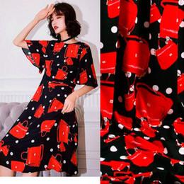 Sicily Borse Stampa Rosso Borse Polka Dots Nero poliestere Cady Tessuto in lino per donna Abito estivo Gonna Cucito supplier polka dot dress fabric da tessuto vestito da polka dot fornitori