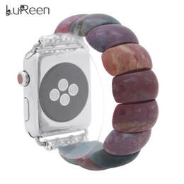 Argentina LuReen Red Jasper Watch Band para Apple iWatch 38mm / 42mm Piezas Planas Rojas Vinculadas Pulsera Elástica Correa Reloj Pulsera Suministro