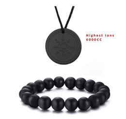 Joyas de turmalina negra online-¡¡¡Lo mas barato!!! Joyería EBUTY Hombres Natural Negro pulseras de piedra natural Mujer granos de los encantos de turmalina colgante 6000cc
