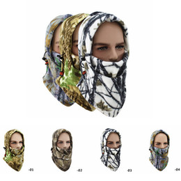 Gesichtsmaske schal kapuze online-Winter Bike Riding Camo Gesichtsmasken Tactical Hood Schal Outdoor Sports Maske Fahrrad Radfahren Balaclava Fleece Mütze Snowboarding Beanie RRA2581